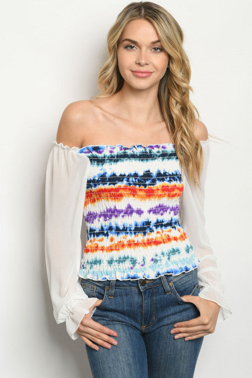 Blue and White Cold Shoulder Tie Dye Top