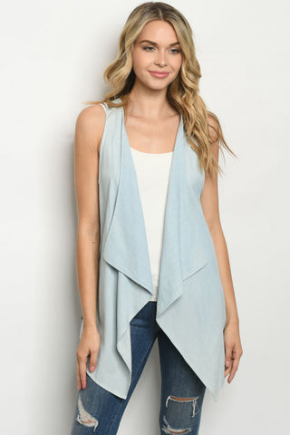 Light Blue Denim Cardigan Vest