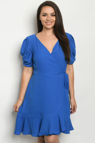 Royal Blue Plus Size Wrap Dress