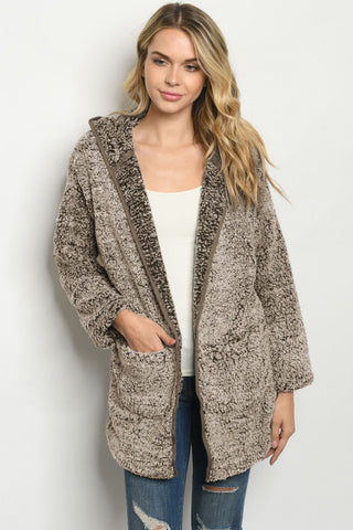 Mocha Brown Faux Fur Hooded Cardigan Jacket