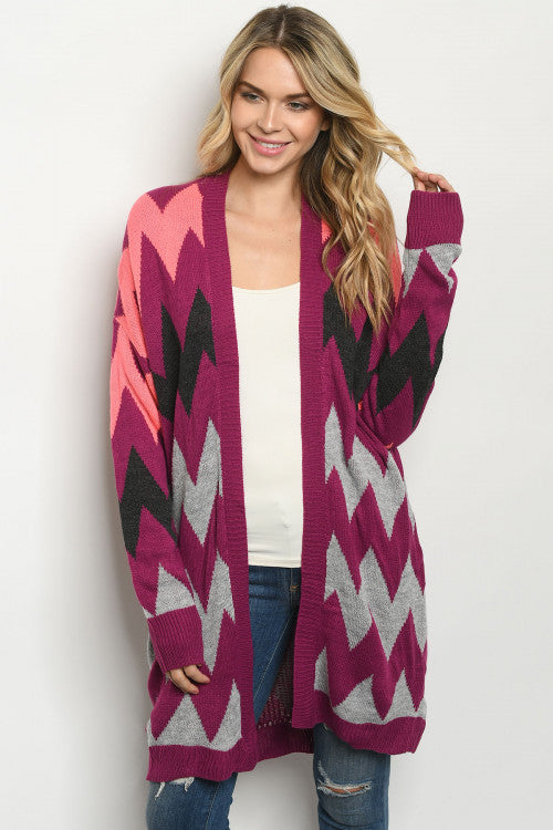 Magenta and Gray Long Sleeve Open Front Sweater