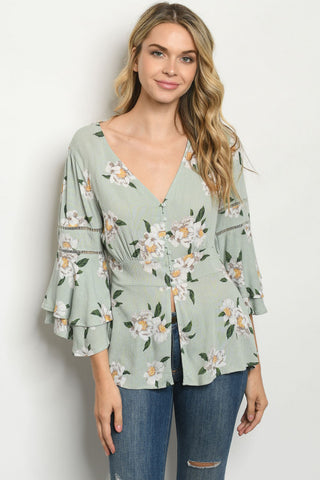 Sage Green Floral Double Bell sleeve Peasant Top