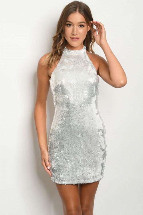 White All Over Sequin Cocktail Dress