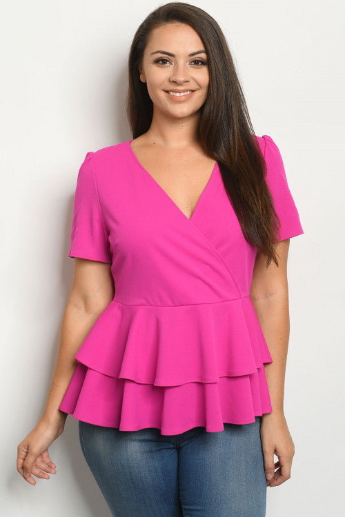 Magenta Pink Plus Size Peplum Top
