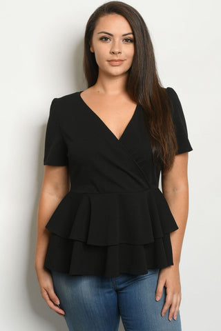Black Plus Size Peplum Top