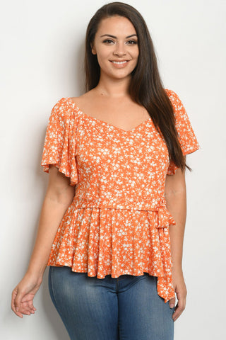 Orange Floral Plus Size Peplum Top