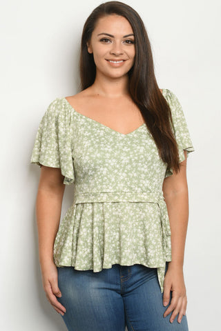 Sage Green Floral Plus Size Peplum Top