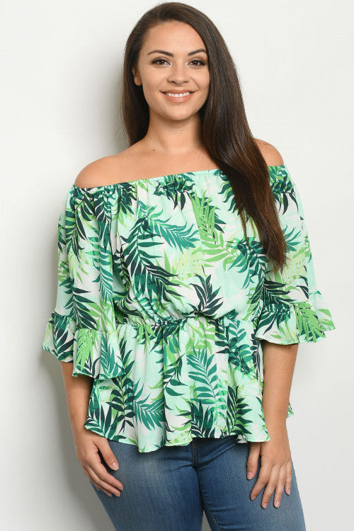 Green Floral Cold Shoulder Plus Size Peplum Top