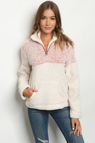 Red and White Two Tone Sherpa Sweater