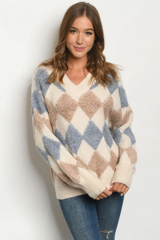 Blue and Brown Argyle Long Sleeve Sweater