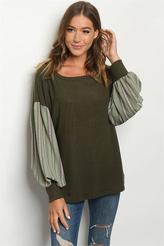 Olive Green Puff Sleeve Tunic Top