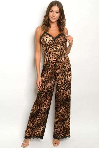 Brown Leopard Animal Print Jumpsuit