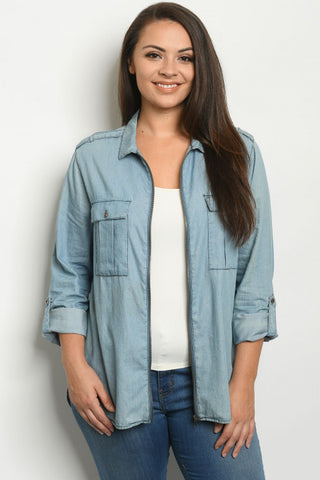 Blue Chambray Denim Plus Size Blazer