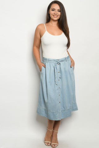 Light Blue Chambray Denim Plus Size Skirt