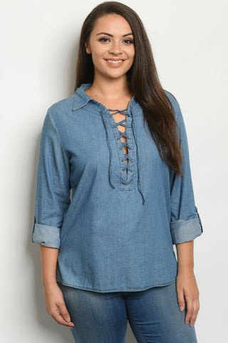Blue Chambray Denim Lace Up Plus Size Top