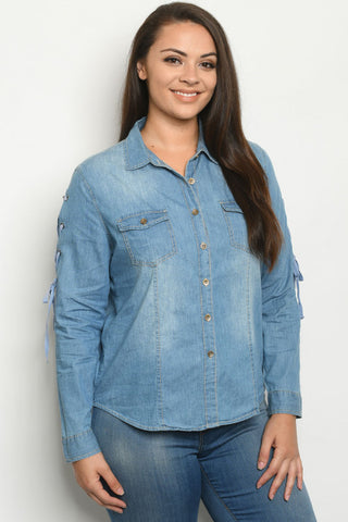 Chambray Denim Lace Up Sleeve Plus Size Top