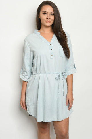 Light Blue Chambray Denim Plus Size Dress