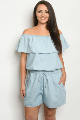 Light Blue Chambray Denim Plus Size Romper