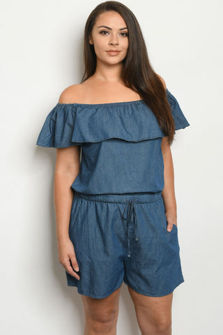 Dark Blue Chambray Denim Plus Size Romper