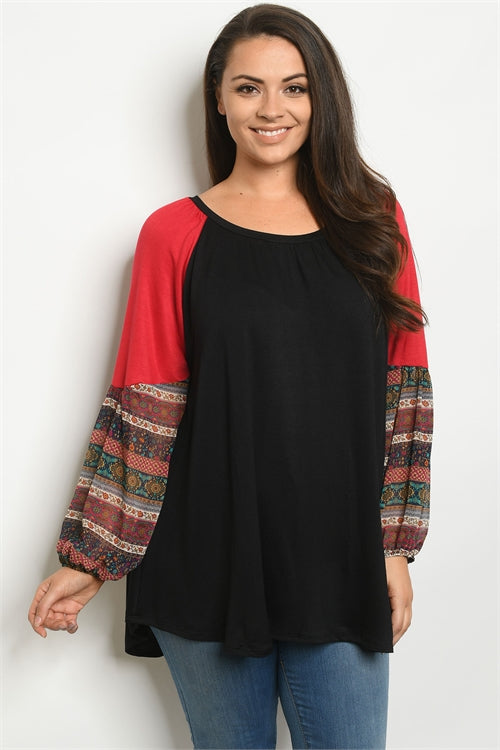 Black and Red Raglan Sleeve Plus Size Top