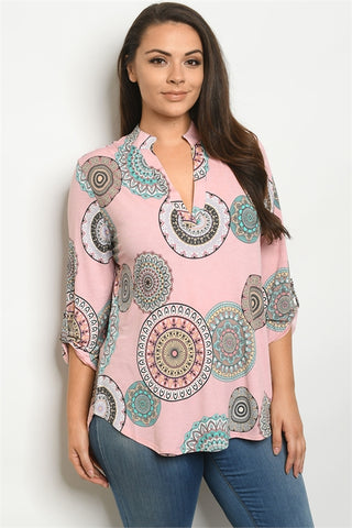 Pink Print Plus Size Tunic Top