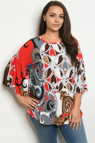 Red Multi Print Plus Size Tunic Top