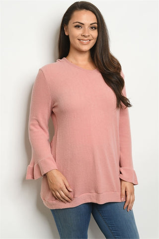Mauve Pink Hooded Plus Size Sweater