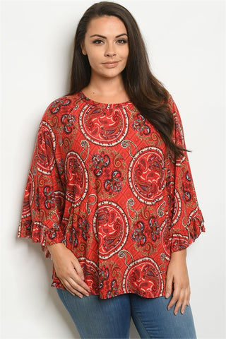 Red Paisley Print Plus Size Tunic Top