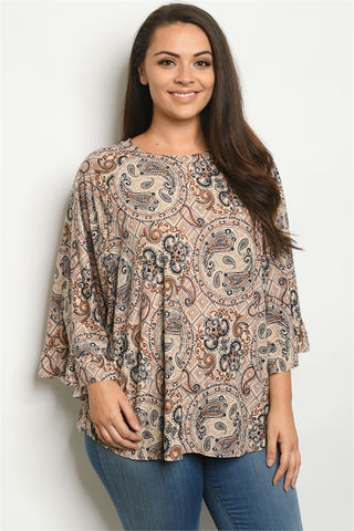 Taupe Paisley Print Plus Size Tunic Top