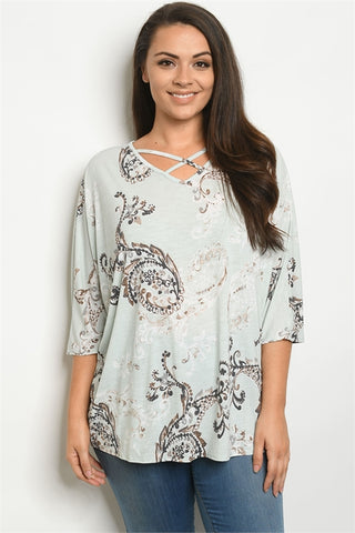 Mint Print Plus Size Tunic Top