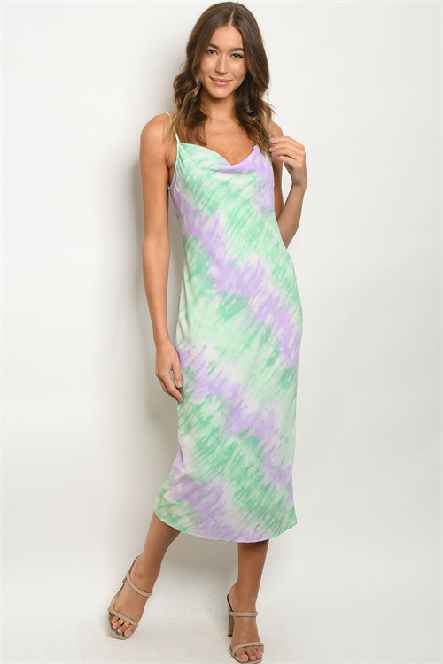 Mint Green and Lavender Tie Dye Cowl Neck Pencil Dress