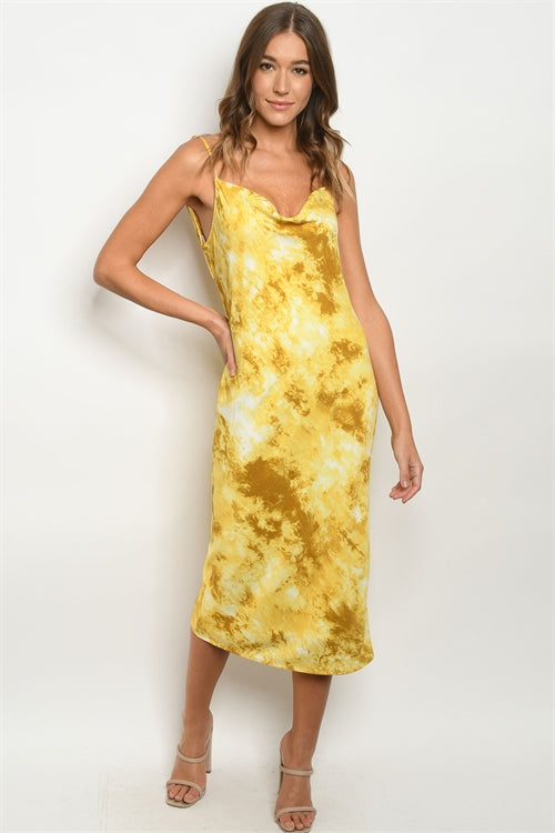 Yellow Tie Dye Cowl Neck Pencil Dress