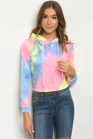 Pink and Blue Cropped Tie Dye Hoodie