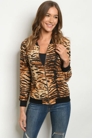 Tiger Print Lightweight Bomber Jacket