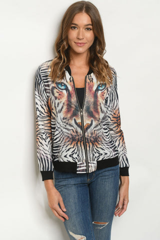 White Tiger Print Lightweight Jacket