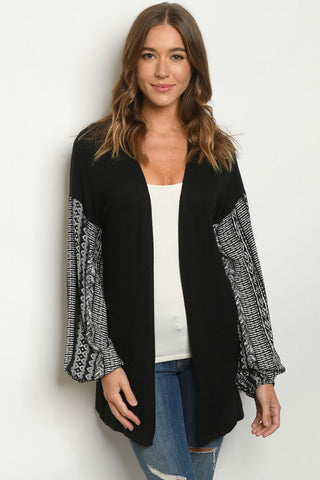 Black and White Puff Sleeve Cardigan Sweater
