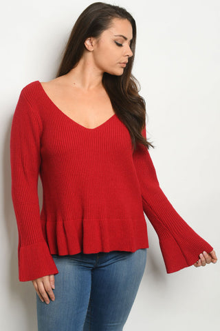 Berry Red Plus Size Peplum Sweater