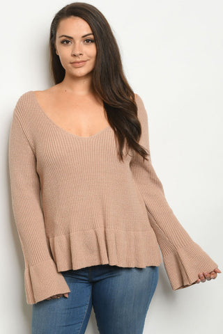 Taupe Brown Plus Size Peplum Sweater