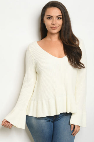 White Plus Size Peplum Sweater