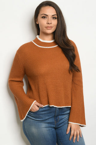 Camel Brown Plus Size Bell Sleeve Sweater
