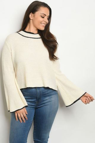 Ivory White Plus Size Bell Sleeve Sweater