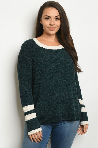 Green Vintage Inspired Plus Size Sweater
