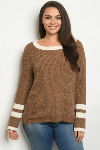 Brown Vintage Inspired Plus Size Sweater