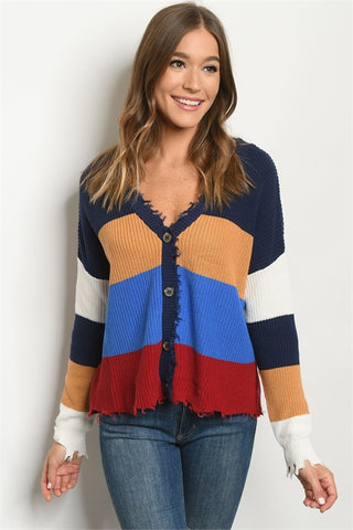 Multi Color Distressed Cardigan Sweater