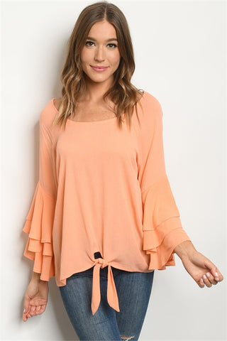 Peach Triple Bell Sleeve Tunic Top