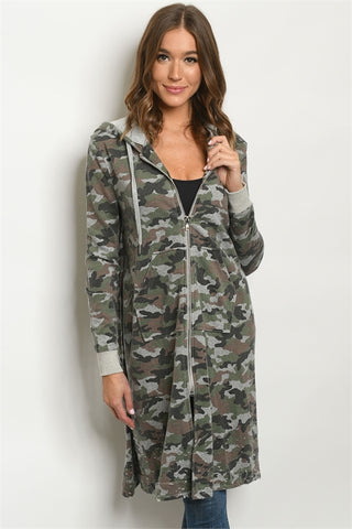 Gray Camouflage Distressed Long Hooded Jacket