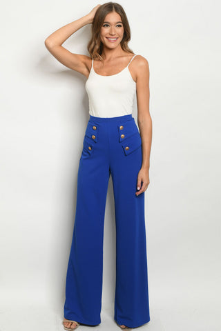 Royal Blue Vintage Inspired Button Accent Pants