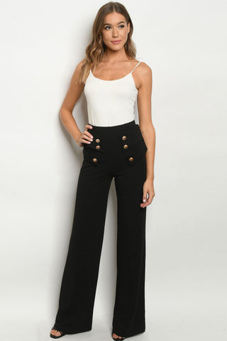 Black Vintage Inspired Button Accent Pants