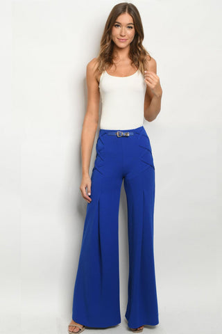 Royal Blue Wide Leg Vintage Inspired Pants