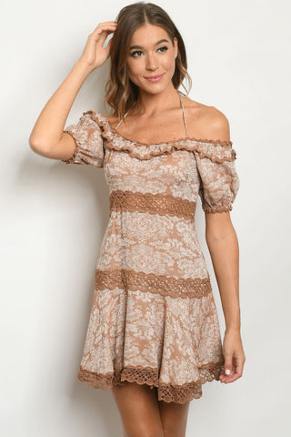 Mauve Pink Floral Lace Accent Dress